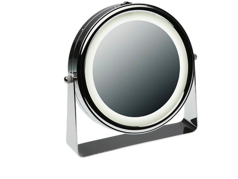Espejo de aumento con luz x5 gris / plata