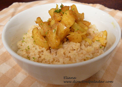 Bulgur con manzanas al curry. Receta