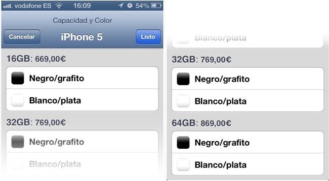 Precios iPhone 5 en España