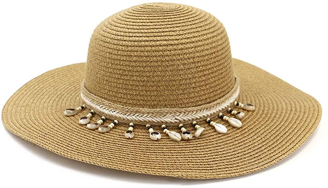 Charmylo Sombreros de Paja para Mujer Sombrero de Sol Gorra de Playa con Cinta de Concha y Correa para la Barbilla - UPF50 Ajustable y Empacable Mujer Sombrero de Verano Fedora Trilby