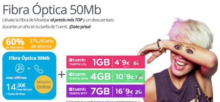 Tuenti prueba suerte en la convergencia: descuento en el móvil al contratar la fibra de Movistar
