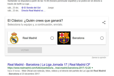 Encuestas Google Real Madrid Barcelona Votar En Google