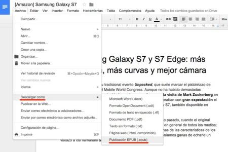 Soporte para EPUB en Google Docs