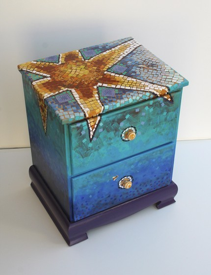 mosaic sun chest etsy azul