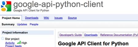 Disponible la librería para Python de las APIs de Google