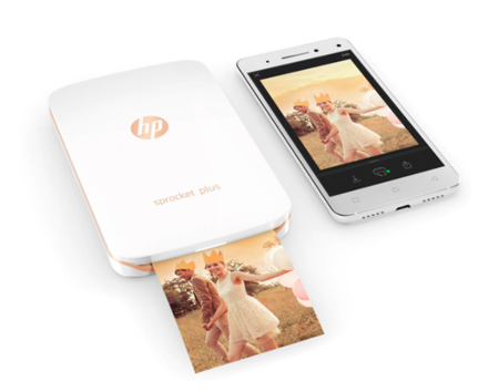 Impresora Fotografica Portatil Hp Sprocket Plus Blanca Funda Dorada