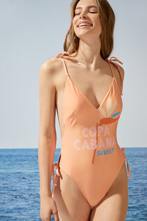 Bañador escote V naranja Copa Cabana