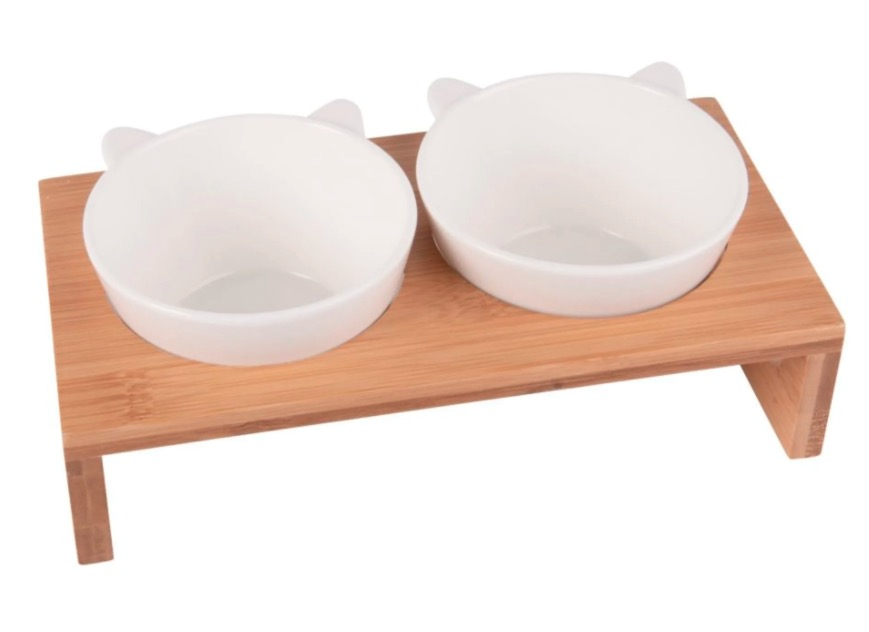 Comederos de porcelana (x2) con soporte de bambú