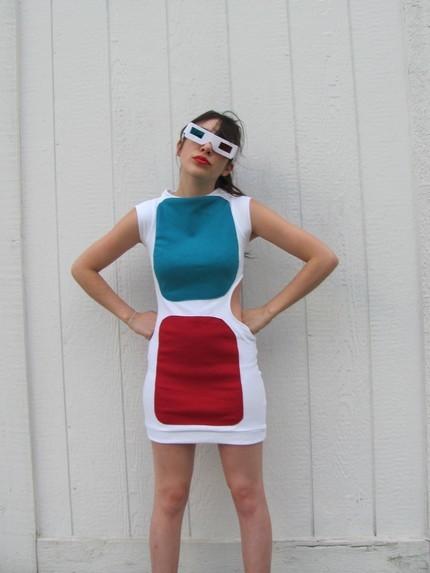 Un vestido con forma de gafas 3D