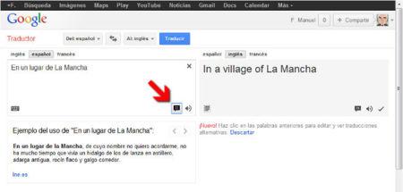 Google Translate ofrece ejemplos de uso de las palabras