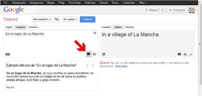 Ejemplos de palabras en Google Translate