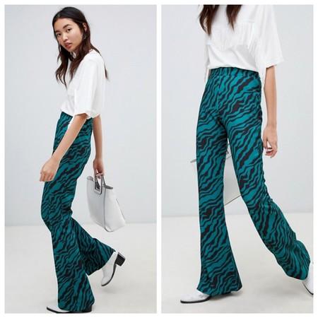 Pantalones Campana Print Animal