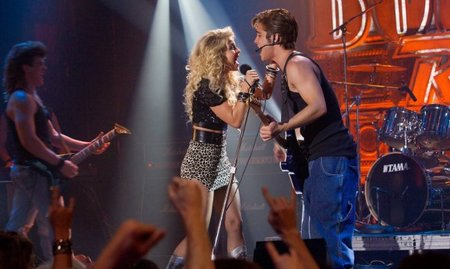 Julianne Hough y Diego Boneta cantando en Rock of Ages