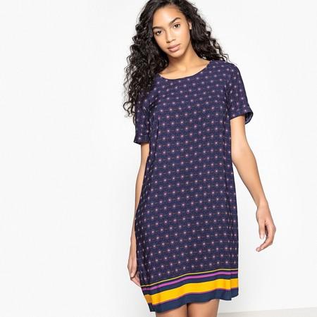 70% de descuento en este vestido estampado étnico morado: está rebajado a 14,99 euros en La Redoute