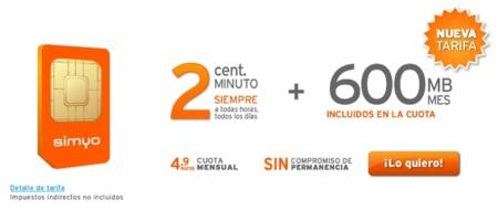Simyo estrena la Tarifa 2 céntimos más 600 MB por 4,9 euros