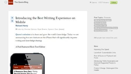 Así se ve un blog en Quora