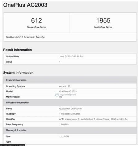 OnePlus AC2003 en Geekbench
