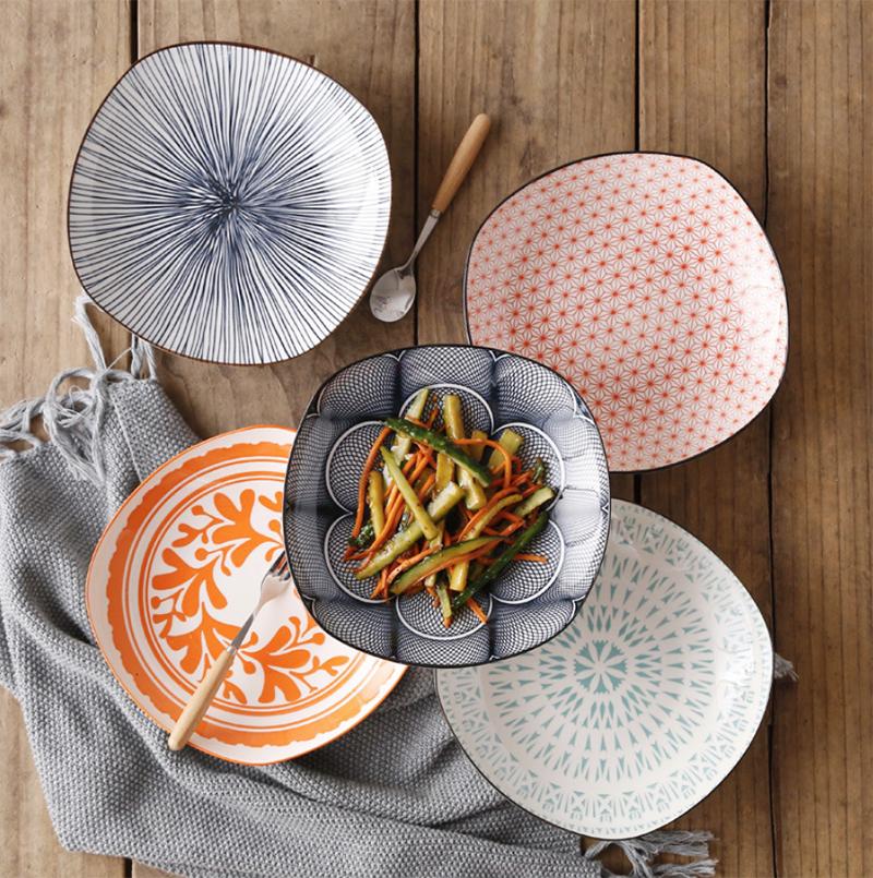 Plato de porcelana pintado con esmalte conciso moderno de Europa, vajilla para el hogar, 8 pulgadas de disco de comida de cerámica cuadrada profunda