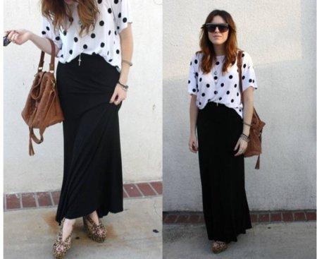 Lunares moda look calle: negro y blanco