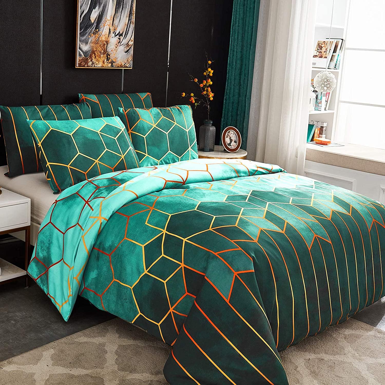 Juego de ropa de cama nórdica en verde