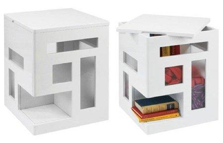 Condolisa, mesa auxiliar, puf y lugar de almacenaje