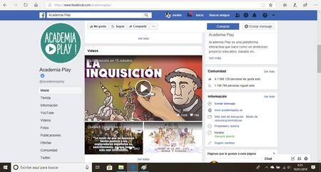 Página de Academia Play en Facebook