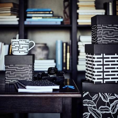 Ikea Coleccion Avsiktlig 2017 Ph141904 Caja Tapa Juego 3 Tamanos Pepel Negro Blanco Cuaderno Lowres