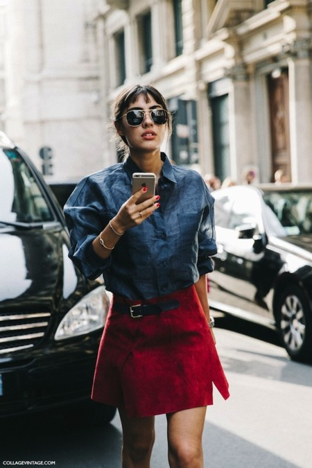 Mfw Milan Fashion Week Spring Summer 2016 Street Style Say Cheese Patricia Manfield Red Suede Skirt 790x1185