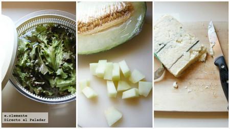 Ensalada fresca de melón y queso gorgonzola