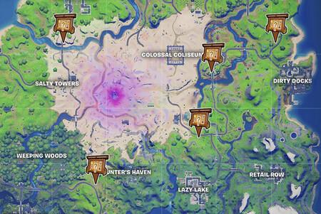 Fortnite: Mapa con todos los tablones de contratos de Temporada 5