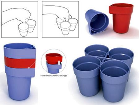 4 tazas con una mano