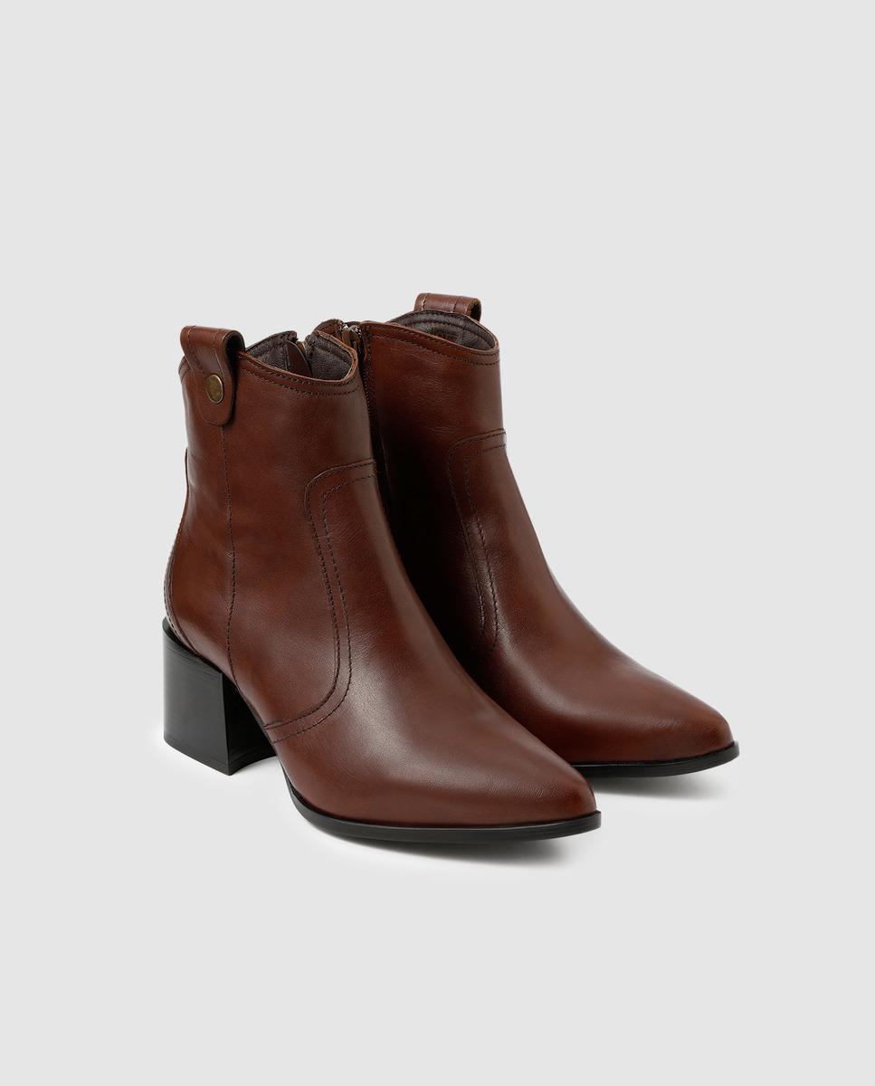 Botines de mujer Zendra Basic de napa en color marrón