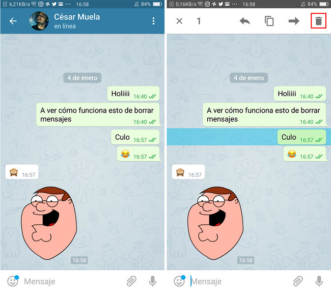Borrar Mensajes Telegram