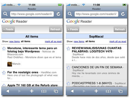 Nuevo Google Reader optimizado para iPhone