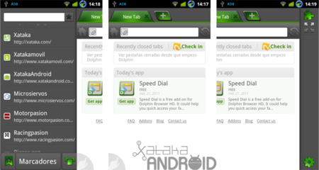 Interfaz del Dolphin Browser