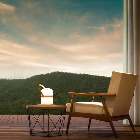 Lámpara de mesa de diseño escandinavo, lámpara de jardín LED de exterior, luz de jardín, linterna, luz LED, terraza, linterna de interior y exterior, regulable, recargable, conexión USB [Clase de eficiencia energética A+++]