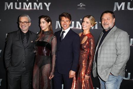 Alex Kurtzman, Sofia Boutella, Tom Cruise, Annabelle Wallis y Russell Crowe en la premiere