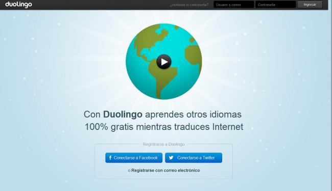 Duolingo, plataforma Web para aprender idiomas.