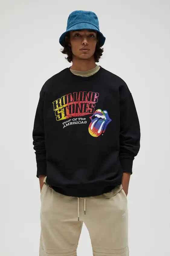 Sudadera negra con estampado de Rolling Stones