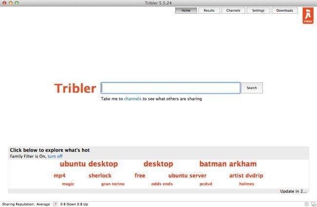 Página de búsquedas de Tribler