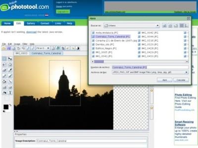 Online Phototool, editor online de imágenes desarrollado en java