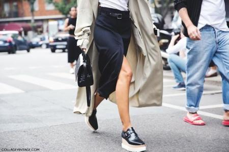 Milan Fashion Week Spring Summer 15 Mfw Street Style Patricia Manfield Open Skirt Stella Mccartney Wedges Trench Coat