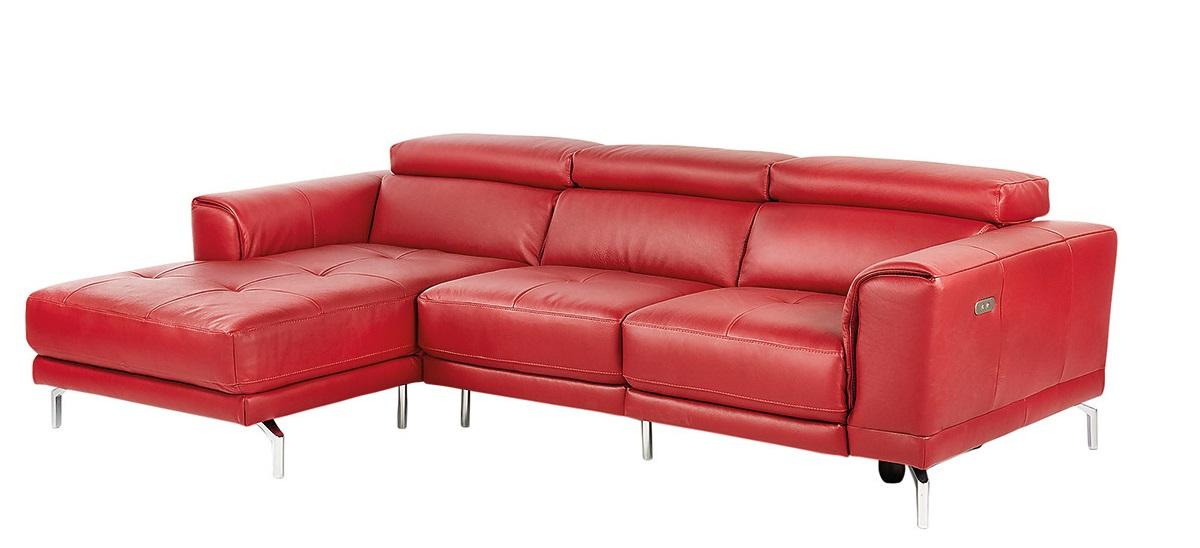 Sofá de piel de 5 plazas con chaise longue izquierdo y un asiento relax eléctrico Bond El Corte Inglés