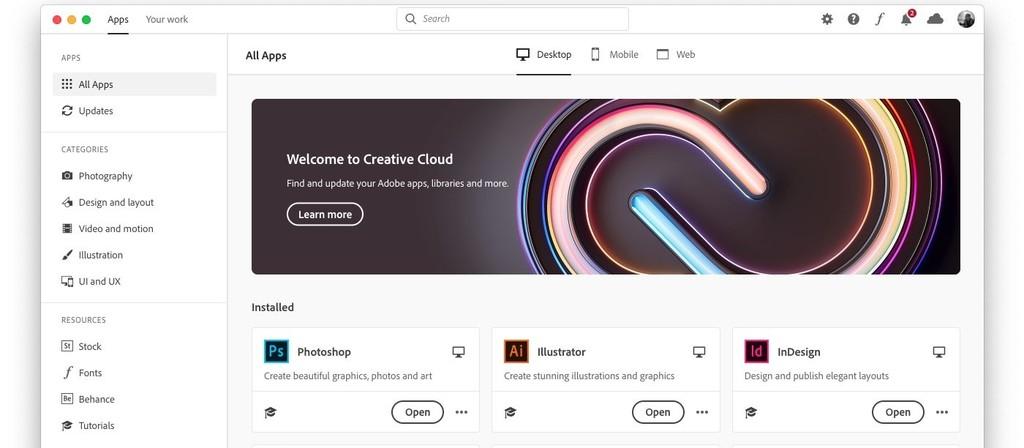 Adobe actualiza y amplía la aplicación de Creative Cloud para macOS