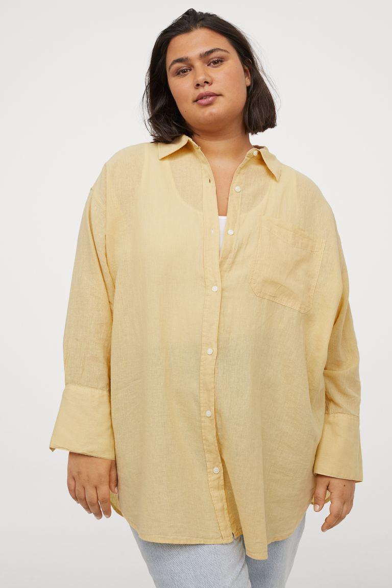 H&M+ Camisa en mezcla de lino