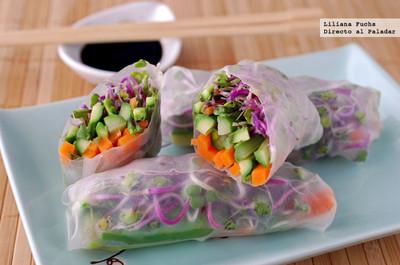 Rollitos vegetarianos con obleas de arroz. Receta
