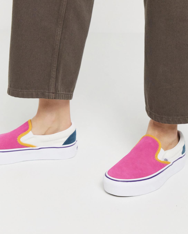 Zapatillas de deporte sin cierres con plataforma en diseño colour block multicolor de Vans Classic