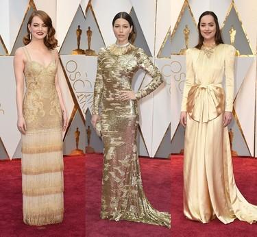 Vestidas para brillar: los dorados y la pedrería ganan la batalla de los Oscar