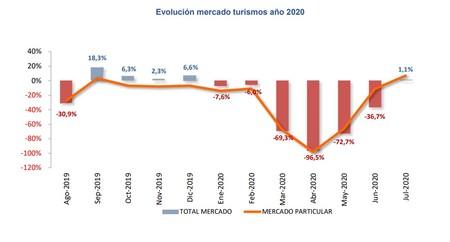 Grafico Evolucion Ventas Coche 2020 Julio