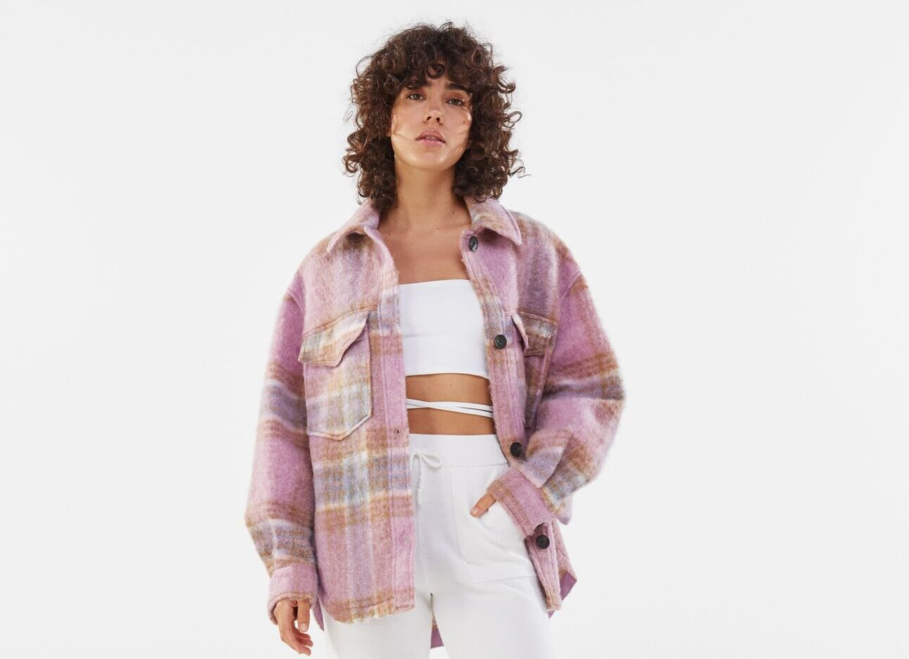 Sobrecamisa lana cuadros rosas